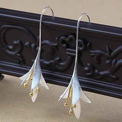 silver Flowers Long Earrings For Women Elegant Lady Earings Fashion Jewelry