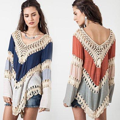 Boho Crochet Long Sleeve Top