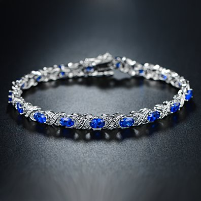Diamond and Blue Sapphire Tennis Bracelet in 18K White Gold