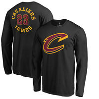 LeBron James Cleveland Cavaliers Fanatics Branded Round About Name & Number Long Sleeve T-Shirt - Black
