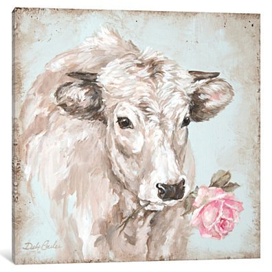 French Farmhouse Series: Cow With Rose II by Debi Coules