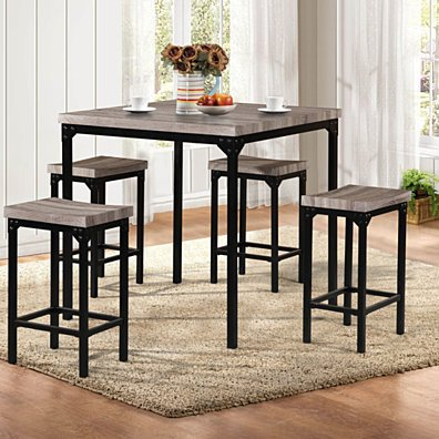Counter Height 5 Pieces Dining Set In Brown And Black