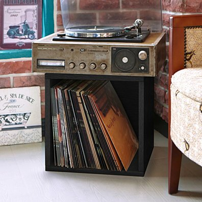 Way Basics Vinyl Record Storage Cube Large Stackable LP Record Album Shelf, Black (made from sustainable non toxic zBoard paperboard)