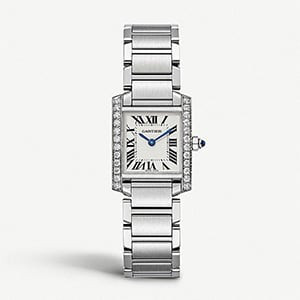 CARTIER Tank francaise steel and diamond watch