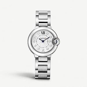 CARTIER Ballon Bleu de Cartier diamond and stainless steel watch