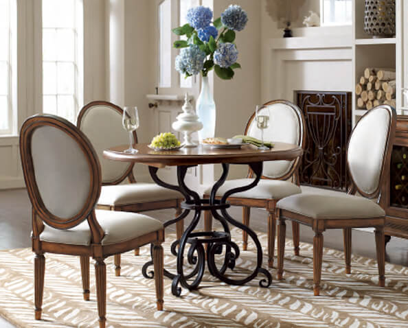 Shop 60IN Round Dining Table W/ Metal Base - Black Forest