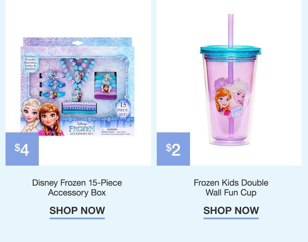 $4 Disney Frozen 15-Piece Accessory Box. $2 Frozen Kids Double Fun Cup