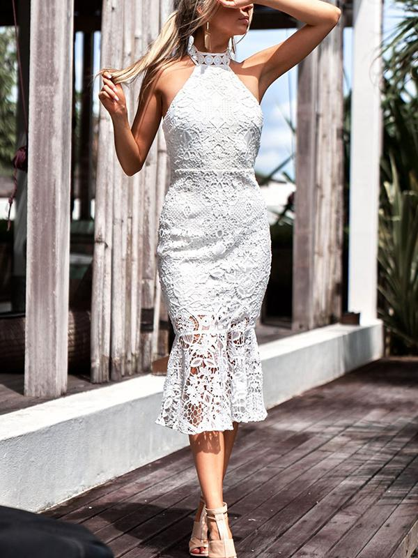 Image of White Choker Lace Dress