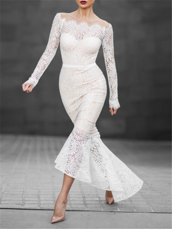 Image of White Lace Mermaid Dress