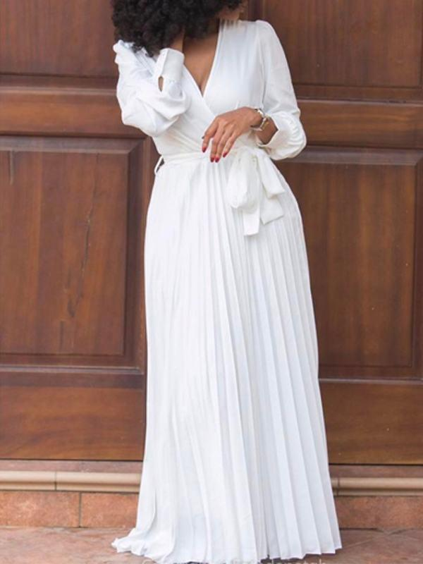 Image of White Wrap Pleated Maxi Dress