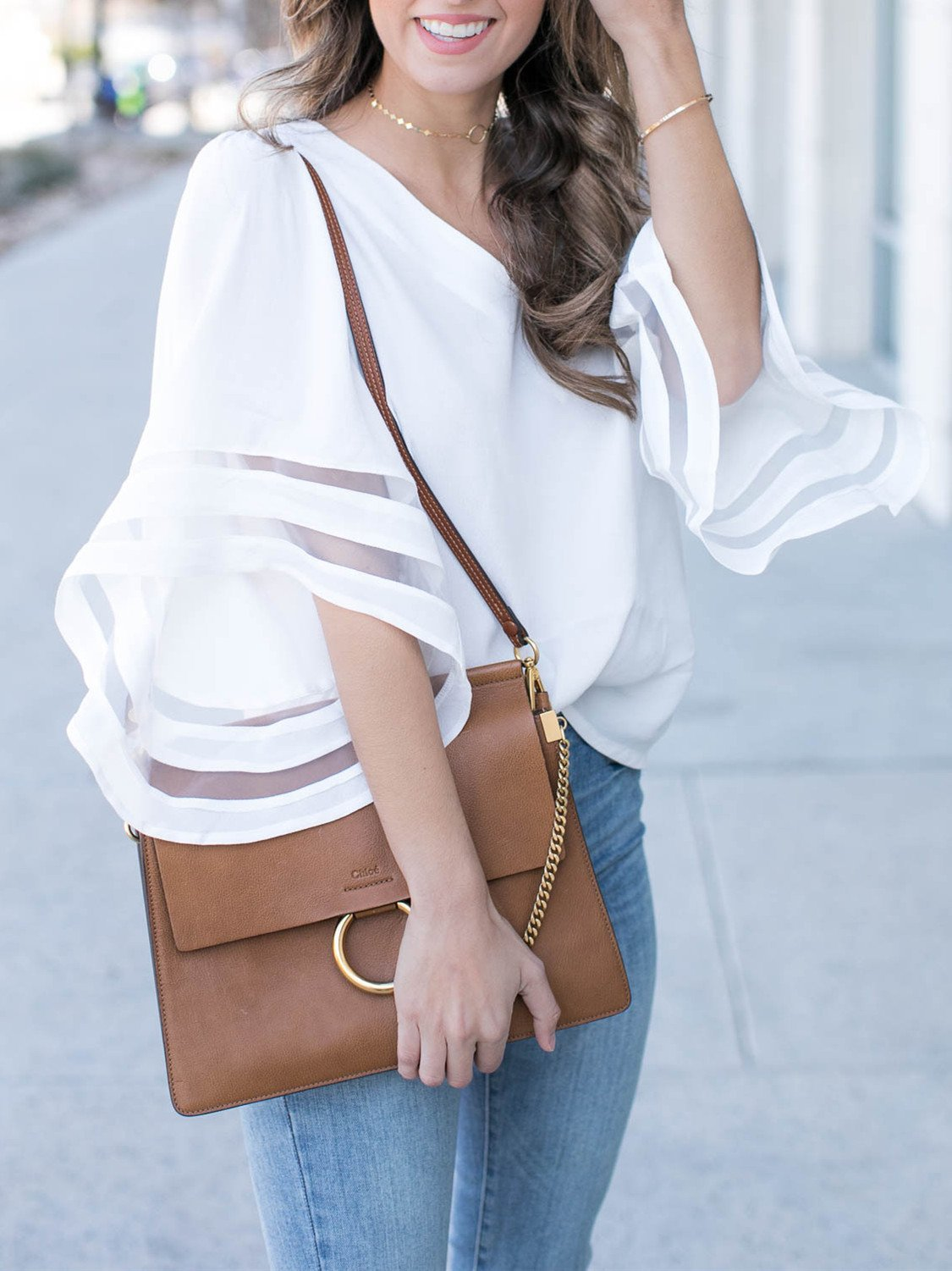 Image of White Flared Sleeve V-neck Blouse