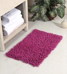 Purple Cotton Chevy Bath Mat by HomeFurry