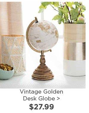 177399 Vintage Golden Desk Globe