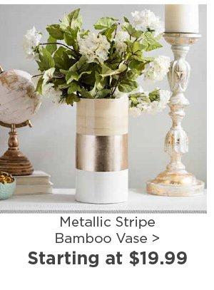 177402 Metallic Stripe Bamboo Vase