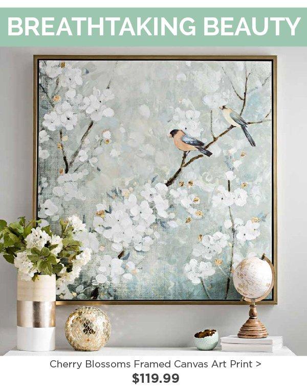 177721 Cherry Blossoms Framed Canvas Art Print