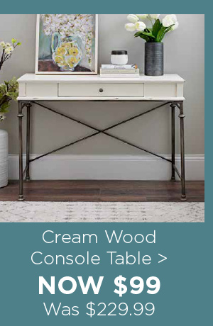 179524 Cream Wood Console Table