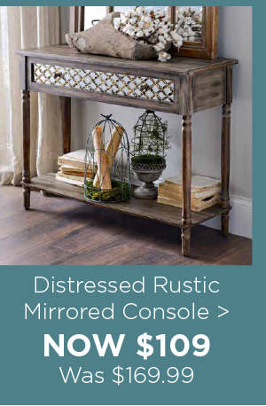 144806 Distressed Rustic Mirrored Console