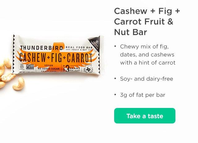 Cashew + Fig + Carrot Fruit & Nut Bar. Take a taste.