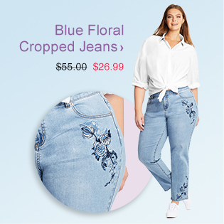 Blue Floral Cropped Jeans