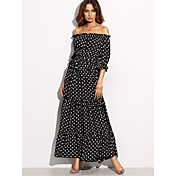 Women's Sheath Dress - Polka Dot High Ris...