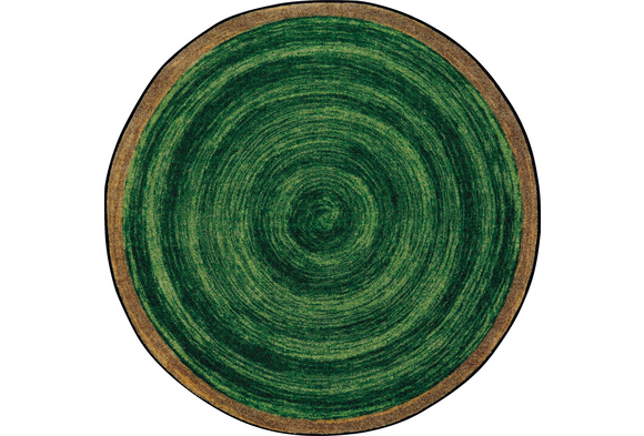 Natural Wood-Look Round Carpet - 7'7
