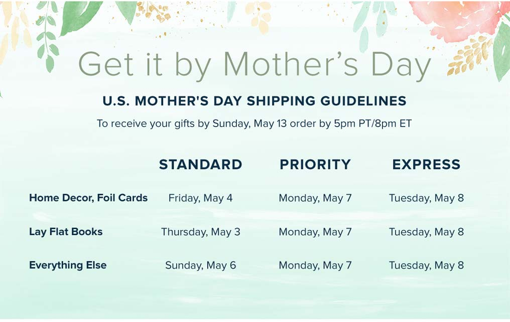 Get It By Mother's Day - Mother's Day Shipping Guidelines