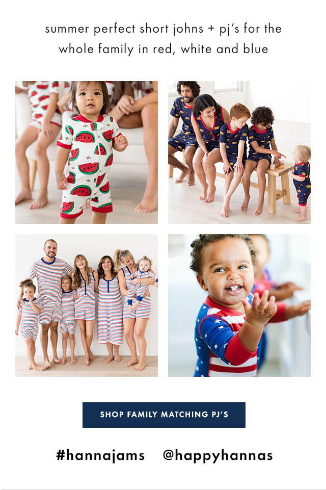 family mathcing pjs in red white blue