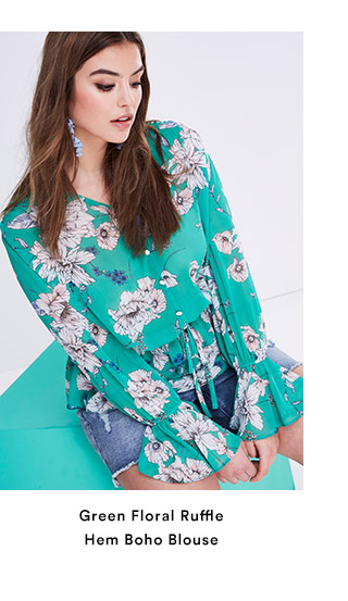 Green Floral Ruffle Hem Boho Blouse
