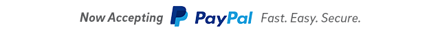 Now Accepting PayPal. Fast. Easy. Secure.