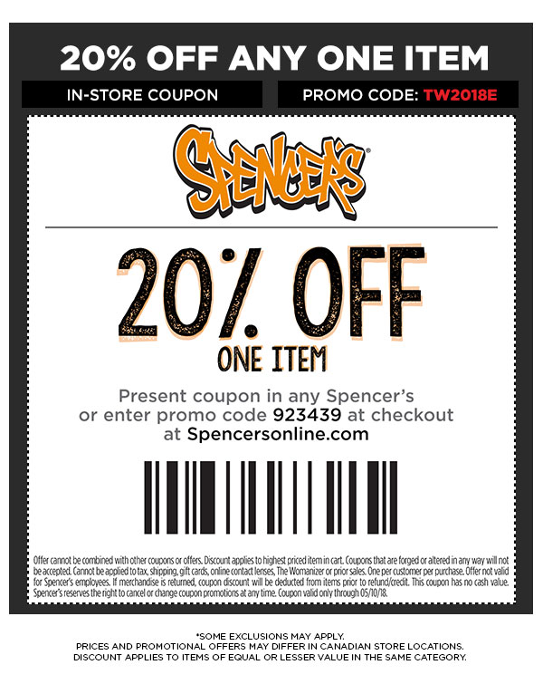Get 20% off any one item with promo code: TW2018E