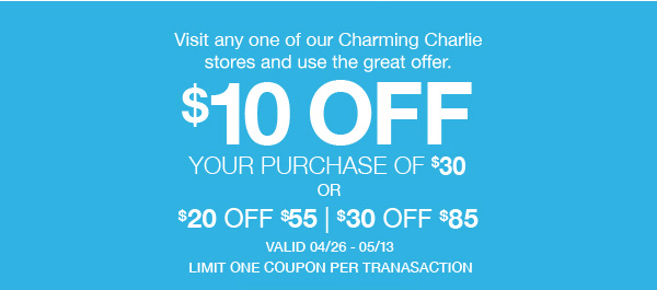 $10 Off $30, $20 off $55, $30 off $85