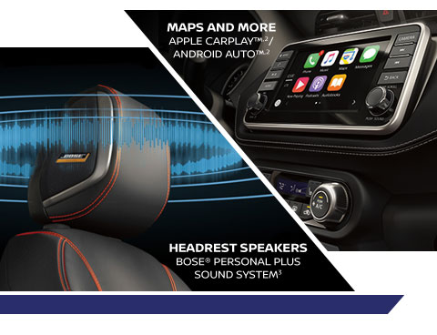 MAPS AND MORE APPLE CARPLAY(TM,2)/ANDROID AUTO(TM,2).| HEADREST SPEAKERS Bose(R) Personal Plus Sound System(3)