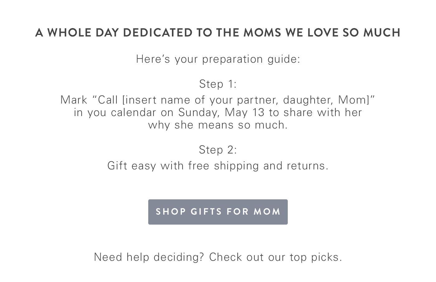 Mothers Day preparation guide.