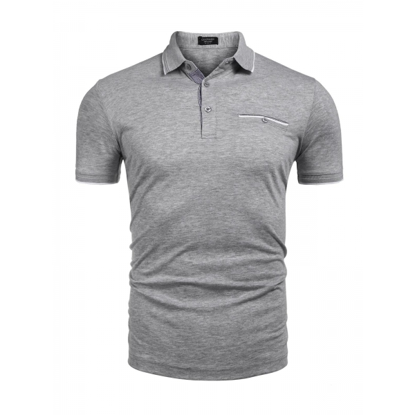 Gray Men Casual Slim Fit Turn Down Collar Short Sleeve Polo T-Shirt