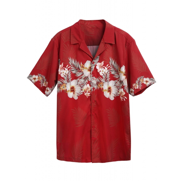 Red Men Short Sleeve Floral Hawaiian Shirts