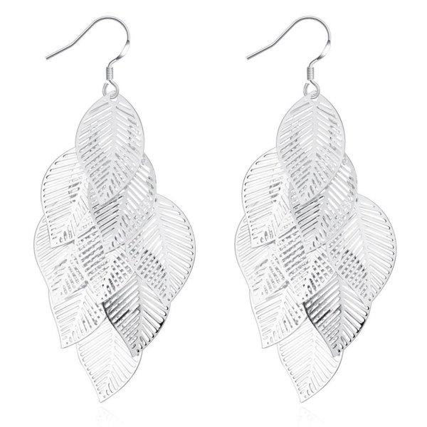 Women Hollow Out Multi Leaf Dangle Earrings