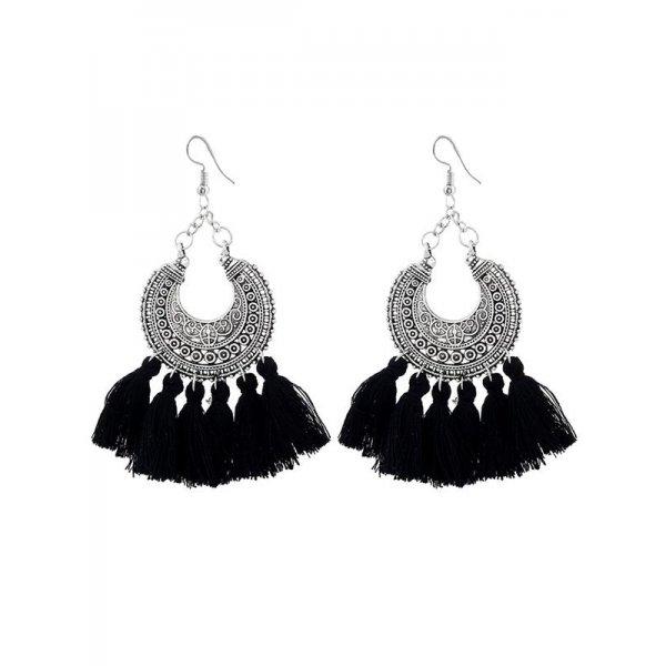 Black Fashion Bohemia Style Tassel Drop Dangle Ear Stud Earring Women Jewelry New