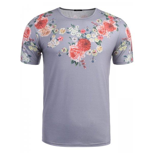 Grey Men O-Neck Short Sleeve Floral Print T-Shirts