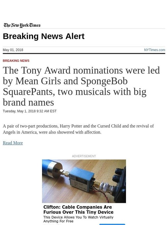 The New York Times: Breaking News: The Tony Award