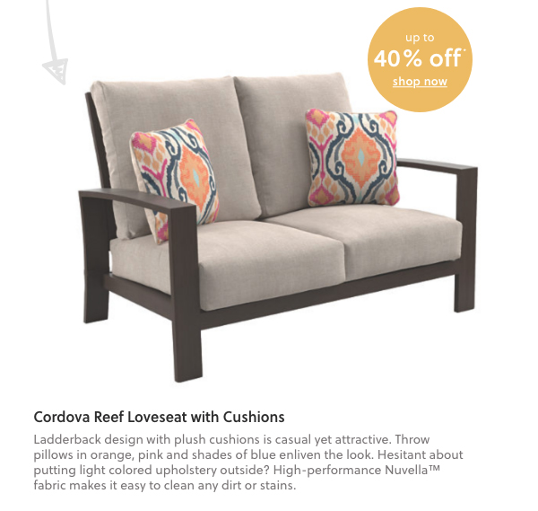 Cordova Reef Reef Loveseat with Cushion