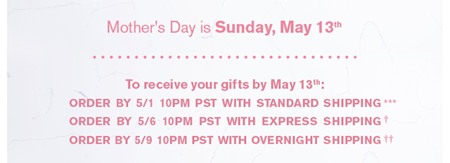 Mother's Day Shipping Cutoff Dates