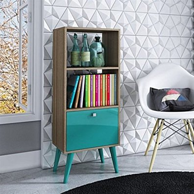 Sophisticated Sami Double Bookcase with 2 Open Shelves and 1- Drawer in Oak and Aqua