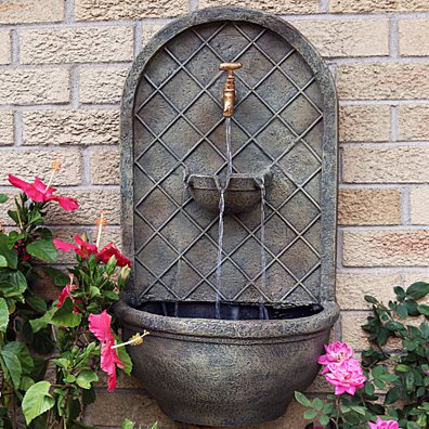Sunnydaze Messina Solar Wall Fountain, 26 Inch - Multiple Options Available