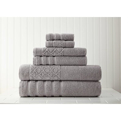 6-Piece towel set with velour diamond jacquard border