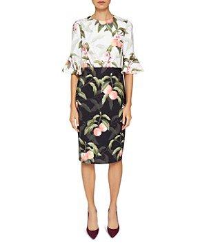 Ted Baker Areea Peach Blossom Ruffle Dress