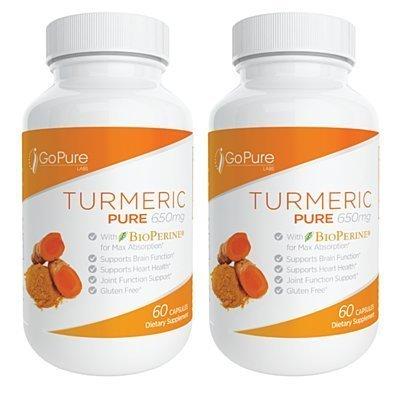 2 Pack - Go Pure Turmeric Curcumin with Bioperine - 120 Count