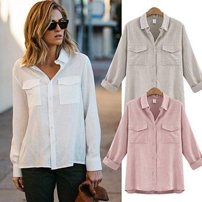 Loose Cut Linen/Cotton Button Up Breathable Shirt