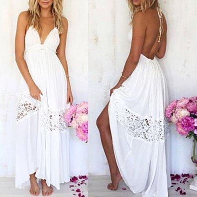 White Bohemian Loose Long Beach Dress