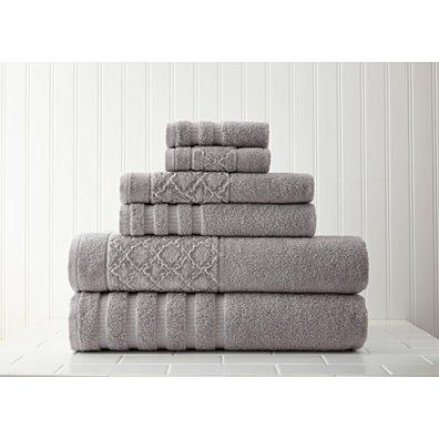 6-Piece towel set with velour diamond jacquard border