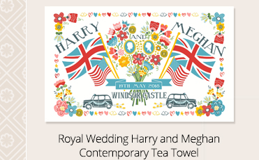 Royal Wedding Harry and Meghan Contemporary Tea Towel